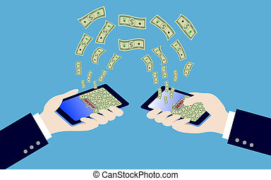 smart phone while transfer money - hand holding smart phone...