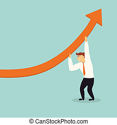 handsome business man lift graph arrow higher,successful...