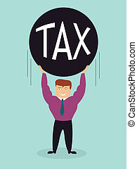 smiling smart business man lift tax iron ball over the...