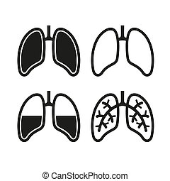 Human Lung Icons Set - Human Black Lung Icons Set Vector...