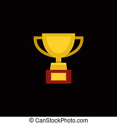 Trophy Award Cup in Flat Design Style. Vector illustration