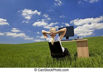 婦女, 綠色, 辦公室, 放松