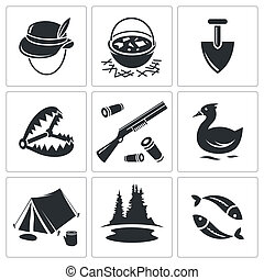 Color hunting and fishing icon collection - Color hunting...