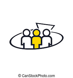 Marketing team work abstract sign