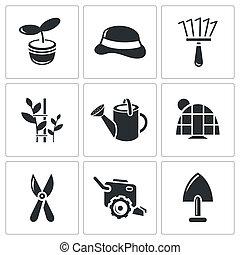 Garden icon collection - Garden icon set on a white...