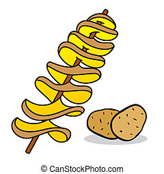 Spiral potato - Technology Fast Food chips in a continuous...