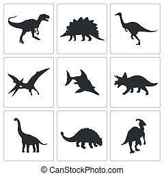 Dinosaurs icons collection - Dinosaurs icon set on a black...