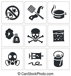 No insects icon set on a white background