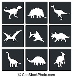 Dinosaurs icons set - Dinosaurs icon set on a white...