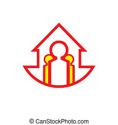 Marketing team work abstract red sign