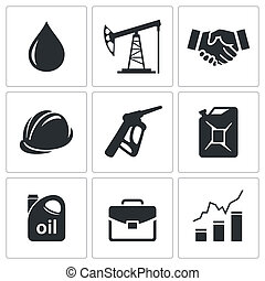 Petroleum industry icon set on a white background