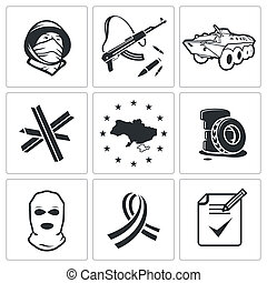 Opposition icon collection - Opposition icon set on a white...