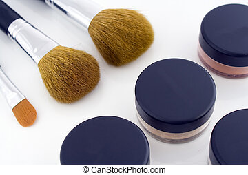 Make-up brushes and powder jars - A set of three make-up...