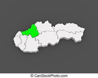 Map of Trencin Region. Slovakia.