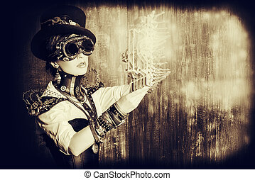 gothic industry - Portrait of a beautiful steampunk woman...