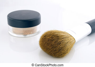 Make-up brush and powder jar - A set of a big makeup brush...