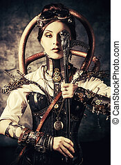 science fiction - Portrait of a beautiful steampunk woman...