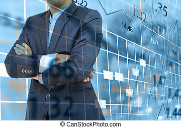 Stock exchange chart with businessman.