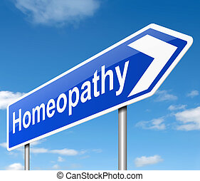 Homeopathy concept - Illustration depicting a sign with a...