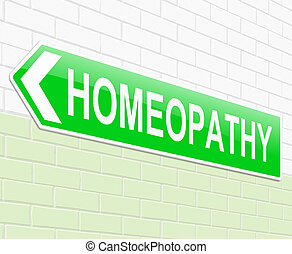 Homeopathy concept. - Illustration depicting a sign with a...