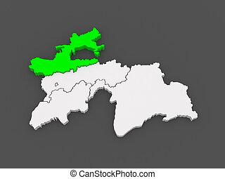 Map of Sughd region. Tajikistan.