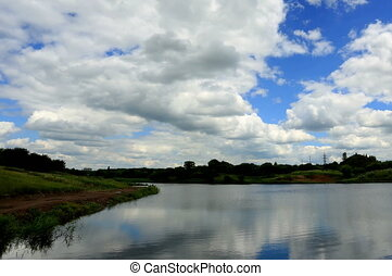 clouds over the reservoir - 4K. Movement of clouds over the...
