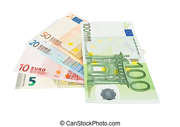 Euro banknotes closeup on white background