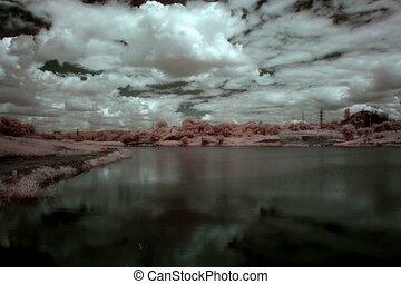 InfraRed landscape - 4K. InfraRed landscape: Movement of...