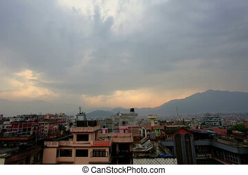Timelapse sunset in Kathmandu. - 4K. Timelapse sunset in...