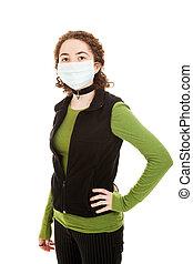 adolescente, Desgastar, gripe, máscara