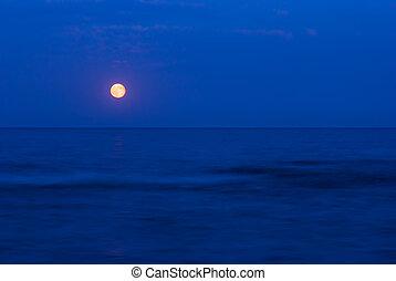 Lleno, luna, encima, mar