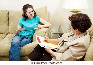 terapia, -, expresión, Frustración