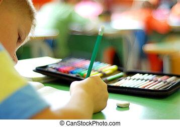 criança, escrita, desenho
