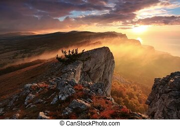 sunrise in the mountains - 4K. Timelapse sunrise in the...