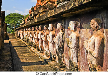 Group of buddha statue in Sukhothai