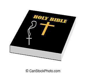 bible - scriptures bible with a cross on a white background