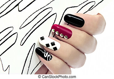 Graphic manicure. - Graphic manicure with...