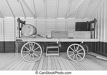 old open horsedrawn wagon - Horsedrawn old wagon with wooden...