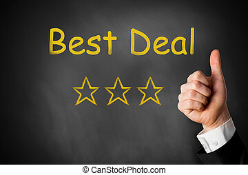 best deal thumbs up stars - best deal with three golden...