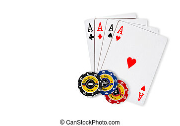 Poker chips Playing cards - Poker Combination chips Playing...