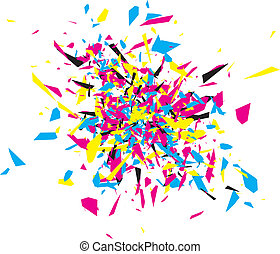 CMYK Abstract Explosion Design Over White