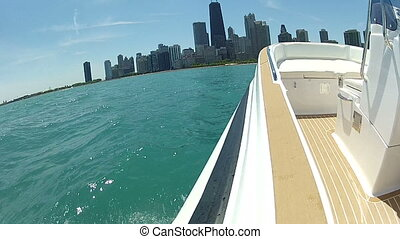 Rib navigating in front of Chicago - Rib navigating fast on...