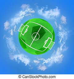 Football green planet in the sky clouds Soccer stadium
