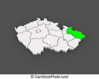 Map of Moravian Czech Republic 3d
