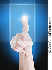 Finger pointing - Picture of a finger pointing on a...