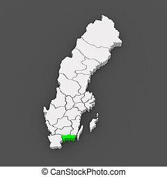 Map of Blekinge. Sweden. 3d
