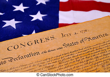 Declaration of Independence with United States flag...