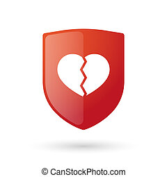 Shield icon with a heart - Illustration of an isolated...