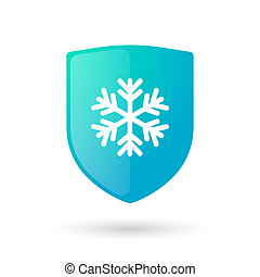 Shield icon with a snow flake - Illustration of an isolated...