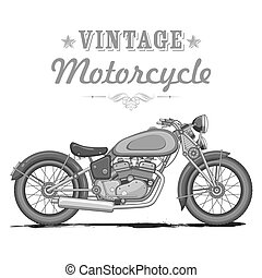 Vintage Motorcycle - illustration of vintage motorcycle on...